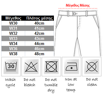 μεγεθολόγιο ανδρικό jeans παντελόνι